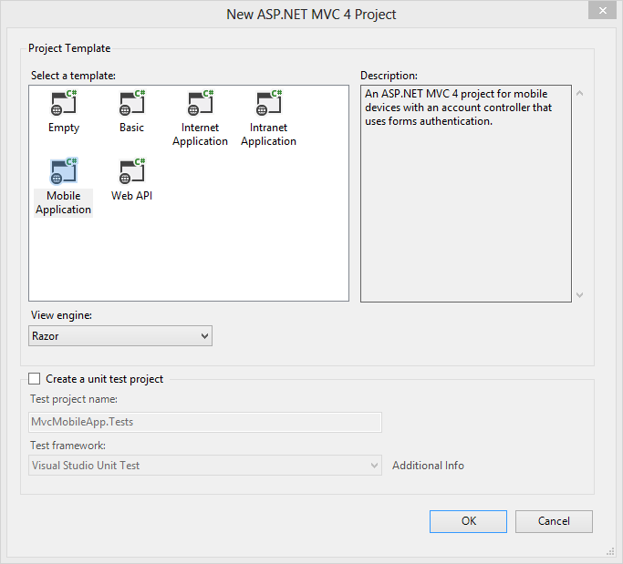 Visual Studio 2012 Project Template Dialog
