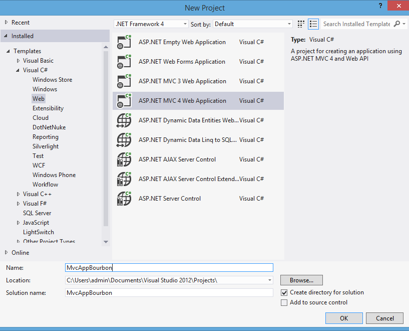 New ASP.NET MVC 4 Web Application – MvcAppBourbon