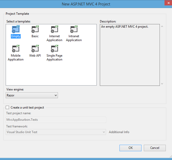 New ASP.NET MVC 4 Project – Empty Project Template
