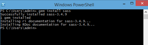 Windows PowerShell – Install Sass