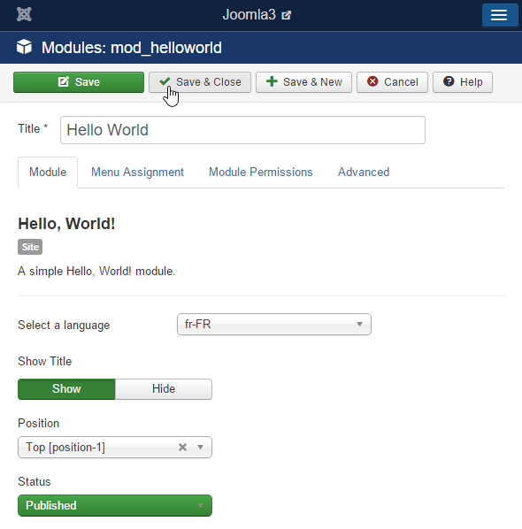 Joomla 3.x Hello World Module Form