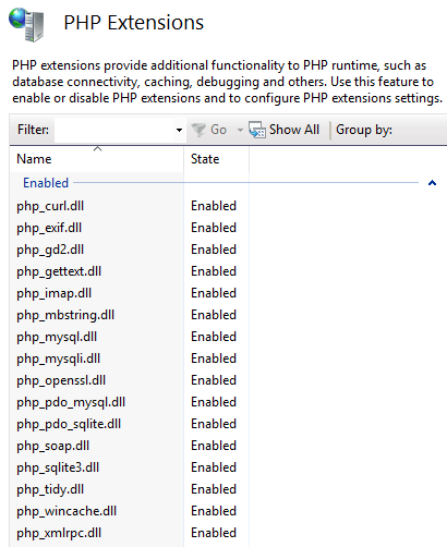 PHP Extensions provide additional functionality to PHP runtime, such as database connectivity, caching, debugging and others. Use this feature to enable or disable PHP extensions and to configure PHP extensions settings.