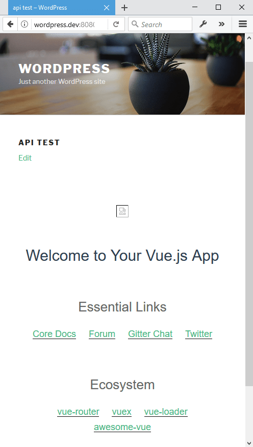 WordPress api-test Page - Default App build