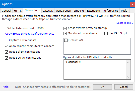 Fiddler - Tools - Options Screen