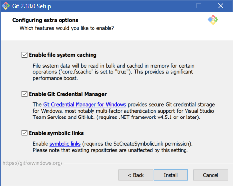 Git 2.18.0 Setup | Configure extra options