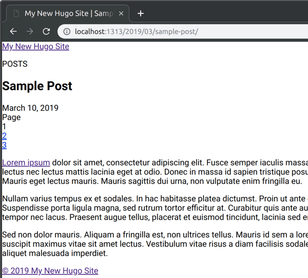 My New Hugo Site post: sample-post
