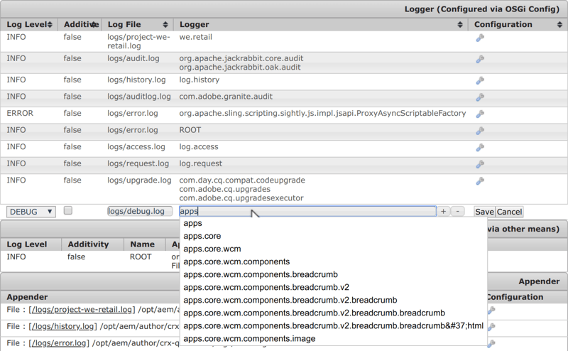 Adobe Experience Manager Web Console Log Support | Add new Logger