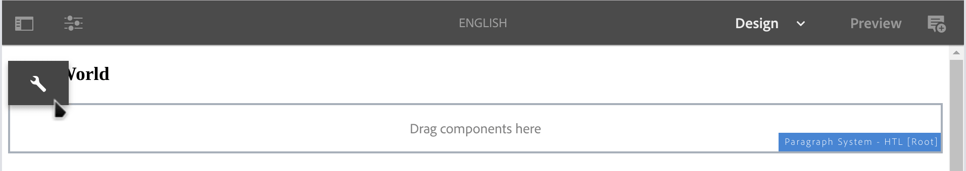 AEM Sites | Blank Slate > English > Design > select ParSys config icon