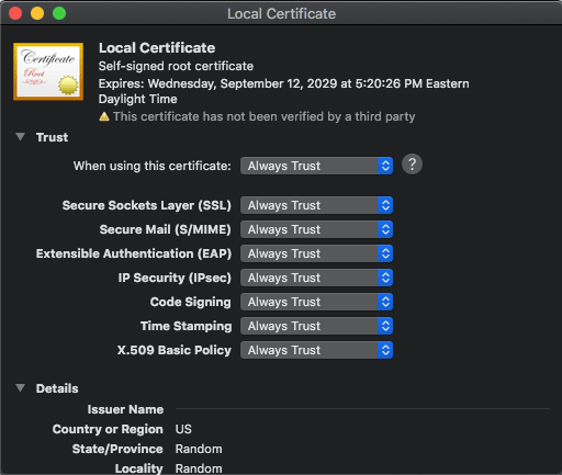 OS X Local Certificate - Always Trust