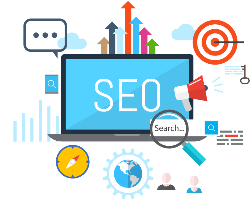 SEO and search elements graphic